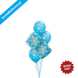 """Χριστούγεννα - Μπουκέτο μπαλονιών """"Blue Winter Snowflakes"""" - Κωδικός: 9504049"""