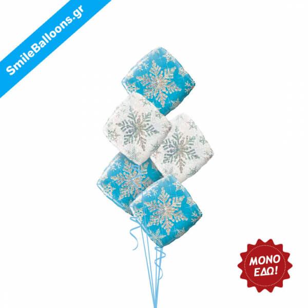 """Χριστούγεννα - Μπουκέτο μπαλονιών """"Blue White Snowflakes"""" - Κωδικός: 9504050"""