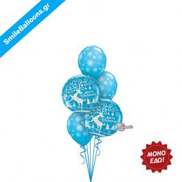 """Χριστούγεννα - Μπουκέτο μπαλονιών """"Blue Christmas Snowflakes"""" - Κωδικός: 9504052"""