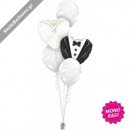 """Μπουκέτο μπαλονιών """"Gown Tux Hearts"""" - Κωδικός: 9522016 - SmileStore"""