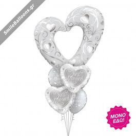 """Μπουκέτο μπαλονιών """"Just Married Silver Heart"""" - Κωδικός: 9522026 - SmileStore"""