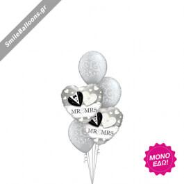 """Μπουκέτο μπαλονιών """"Mr. Mrs. Silver Hearts"""" - 9522033"""