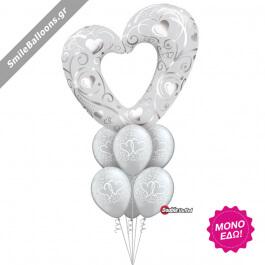 """Μπουκέτο μπαλονιών """"Silver Entwined Hearts"""" - Κωδικός: 9522039 - SmileStore"""