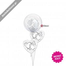 """Μπουκέτο μπαλονιών """"Silver White Wedding"""" - Κωδικός: 9522042 - SmileStore"""