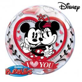 """Μπαλόνι Bubble """"Mickey & Minnie Love You"""" 56εκ. - Κωδικός: 21892 - Qualatex"""