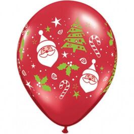 """Μπαλόνια Latex """"Santa & Christmas Tree"""" 28εκ. (6τεμάχια) - Κωδικός: 40571 - Qualatex"""