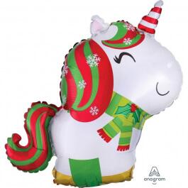 """Μπαλόνι Foil """"Christmas Unicorn"""" 53εκ. - Κωδικός: A3830601 - Anagram"""