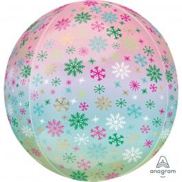 """Μπαλόνι Foil ORBZ σφαιρικό """"Ombre Snowflake"""" 43εκ. - Κωδικός: A4009101 - Anagram"""